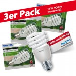 3x Philips Tornado Spiral 15W Performance ESaver Energiesparlampe 827 E27 warmweiss extra