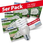 5x Philips Tornado Spiral 15W Performance ESaver Energiesparlampe 827 E27 warmweiss extra
