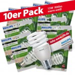 10x Philips Tornado Spiral 15W Performance ESaver Energiesparlampe 827 E27 warmweiss extra