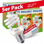 5x Philips Tornado Spiral 12W Performance ESaver Energiesparlampe 827 E27 warmweiss extra