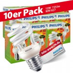 10x Philips Tornado Spiral 12W Performance ESaver Energiesparlampe 827 E27 warmweiss extra