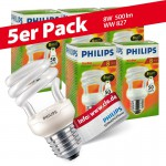 5x Philips Tornado Spiral 8W Performance ESaver Energiesparlampe 827 E27 warmweiss extra