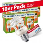 10x Philips Tornado Spiral 8W Performance ESaver Energiesparlampe 827 E27 warmweiss extra