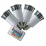 CLE 4x LED RGB System 5W E27 230V m. 1 Fernbedienung.