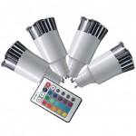 CLE 4x LED RGB System 5W GU10 230V m. 1 Fernbedienung.